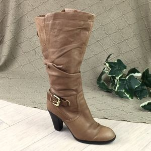 Guess Brown Slouchy Leather Boots Heels 6 WC